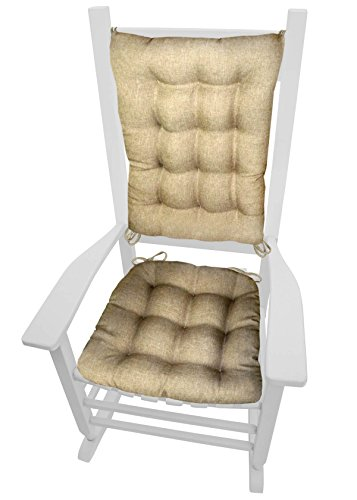 Rocking Chair Cushions - Hayden Beige - Size Extra-Large - Reversible, Latex Foam Fill (Solid Color Neutral, Presidential)