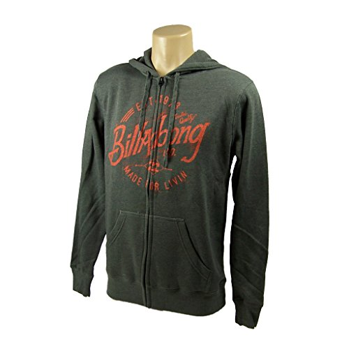 Billabong Men's Blue Collar Zip Up Fleece Hoodie, Dark Grey Heather, Medium