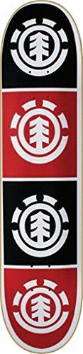 Element QUADRANT Skateboard Deck-8.0 WHT BLK RED thriftwood w/ MOB (Thriftwood Deck)