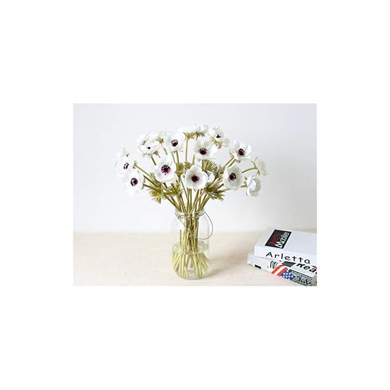 silk flower arrangements lebritamfa 10pcs artifical real touch pu anemone flower bouquet room home decor (white - 10pcs)