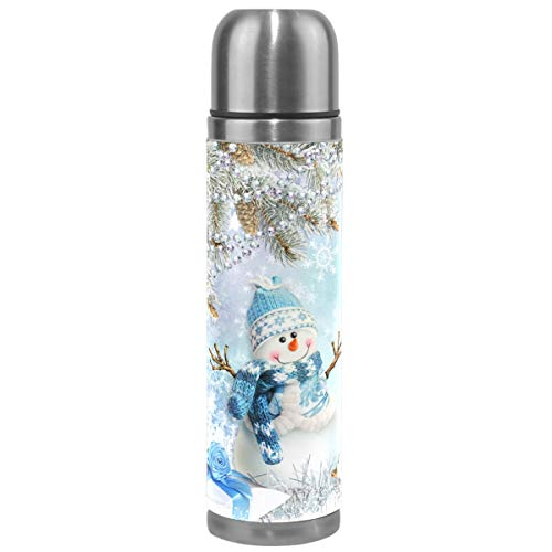 Wamika Winter Snowman Vacuum Insulated Stainless Steel Water Bottle, Merry Christmas Snowflake Sports Coffee Travel Mug Thermos Cup Genuine Leather Cover Double Walled BPA Free 17 Oz