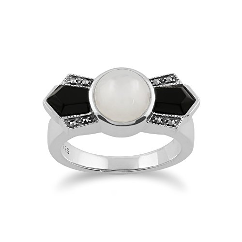 Gemondo Art Deco Ring, 925 Sterling Silver Art Deco Black Onyx, Mother of Pearl & Marcasite Ring