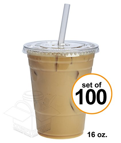 100 Sets 16 oz. Plastic CRYSTAL CLEAR Cups with Flat Lids [by COMFY PACKAGE] for Cold Drinks, Iced Coffee, Bubble Boba, Tea, Smoothie (Clear Plastic Cold Cups)
