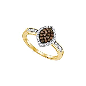 Size - 6 - Solid 10k Yellow Gold Round Chocolate Brown And White Diamond Engagement Ring OR Fashion Band Channel Set Marquise Shaped Halo Ring (1/3 cttw)