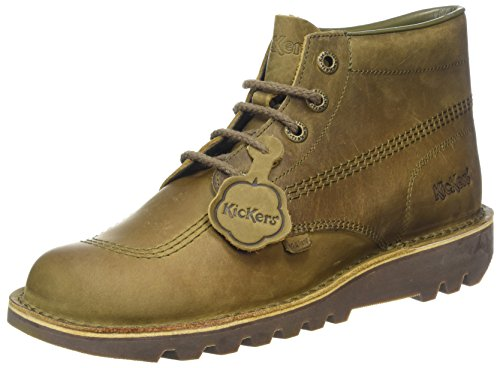 Kickers Shoes Boots - Kickers Mens Khaki Leather Kick Hi Boots-UK 7