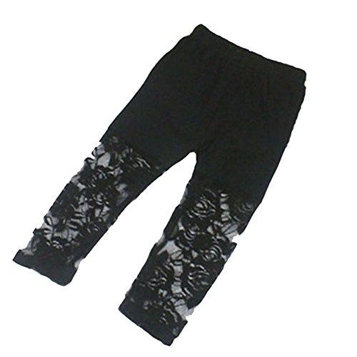 Weixinbuy Kid Baby Girl's Lace Tight Legging Pants Comfy Capri (6-7Y, Black)