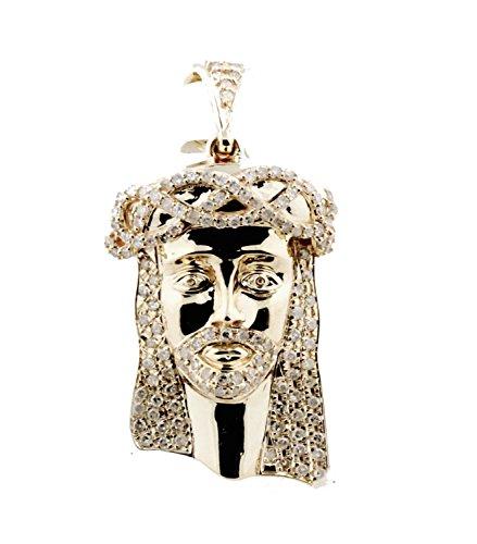 10K Gold Jesus Charm Pendant Jesus Face Jesus Head Real Diamonds 0.60ctw 36mm Tall - Diamond Jesus Pendant