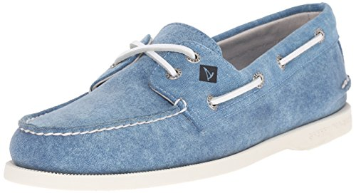 Sperry Top-Sider Men's A/O 2-Eye White Cap Canvas Boat Shoe, Turquoise, 7 M US