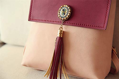 Women Giallo Leather Women Vintage Backpack Zaino Borgogna Moda PU tracolla Donna Small Borsa Tassel Zaino a xwaq4B