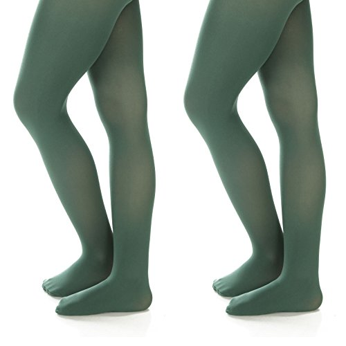 Silky Toes Women's Opaque Microfiber Comfort Tights- 2 Per Pack (X-Small (A), Hunter Green)