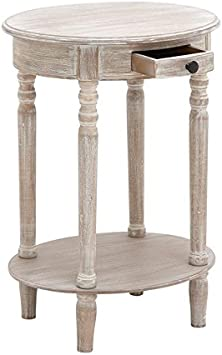 Taupe Deco 79 96290 Wood Oval Accent Table 27 x 20
