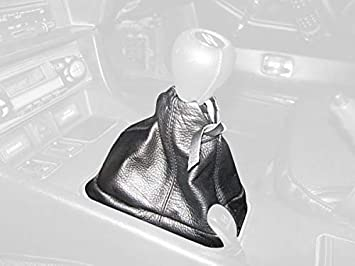 RedlineGoods Shift Boot Compatible with Datsun 240Z 1970-74 Black Leather-Red Thread