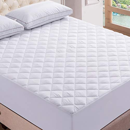 Lux Decor Premium Quilted Fitted Mattress Pad - Stretch-to-Fit Mattress Pad Cover - Stretches up to 16 Inches Deep - Hypoallergenic Cooling White Mattress Fitted Topper(1
