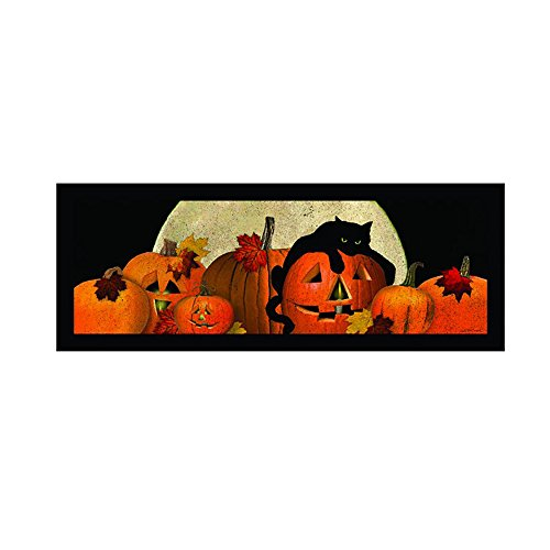 Spooky Black Cat Jack-O-Lanterns LED Light Up 30 x 10 Inch Canvas Halloween Wall Plaque