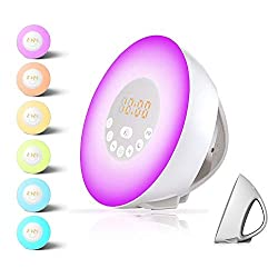 Alarm Clock,Wake up Light For Kids,Best Sunrise FM Radio Alarm Clocks with USB Charger,sunlight and Sunset simulator Sleep Night Light with 6 Nature Sounds Digital Alarm Clock For Heavy Sleepers
