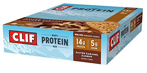 CLIF Whey Protein - Snack Bar - Salted Caramel Cashew - (1.98 Ounce Complete Protein Bar, 8 Count)