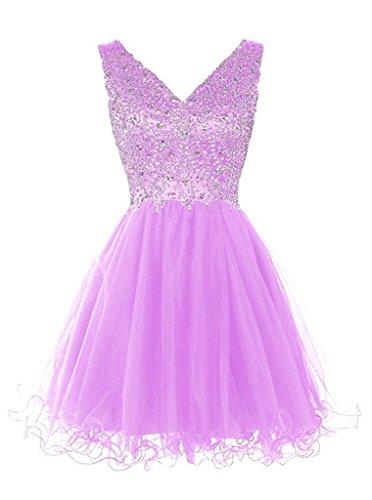 V Ivydressing Partykleid Beliebt Steine Kurz Abendkleid Tuell Lavendel Damen Cocktailkleid Promkleid Ausschnitt UTTEO7q