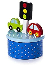 Boys Blue Car Themed Children's Music Box Ideal for Baby or Toddler Boy Baby Shower or Christening Gift
