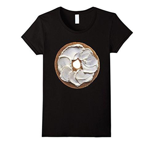 Womens Bagel & Cream Cheese Breakfast Brunch Food Costume T-Shirt Large (Breakfast Food Halloween Costumes)