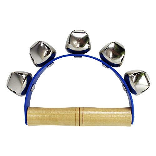 Wooden Handbell Tambourine Baby Kid Child Early Educational Musical Instrument Rhythm 5-Bells Beats Shaking Leather Jingle Bell Toy Blue