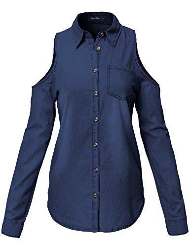 Simple Cold Shoulder Roll Up Denim Shirt Tops 131-Dark Denim US S