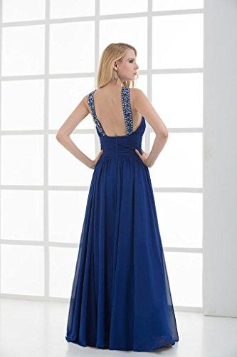 Rueschen GEORGE Laenge besetztes Entwurf Abend Blau Neuer Kleid voller BRIDE Blau cqa4qZYwR