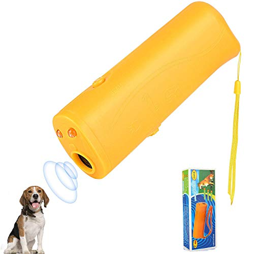 WTOSE Anti Barking Stop Bark Handheld 3 in 1 Pet LED Ultrasonic Dog Repeller and Trainer Device – Training Tool/Stop Barking[Yellow]