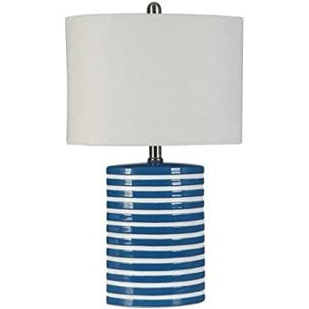 Blue and White Striped Ceramic Lamp with Oval Fabric Shade