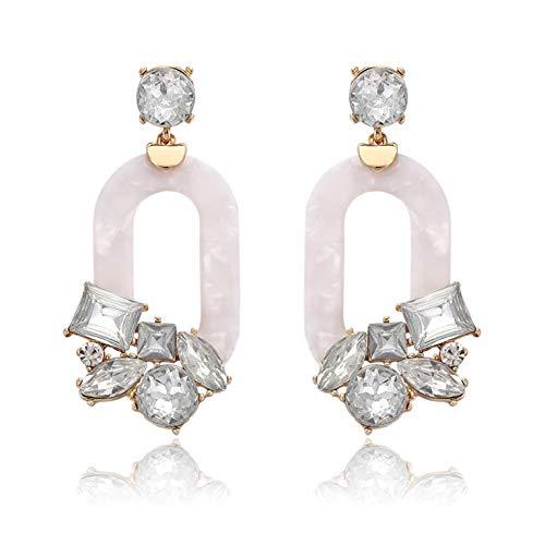 - BSJELL Acrylic Hoop Earrings for Women Resin Textured Mottled Earrings Statement Crystal Oval Geometric Drop Earrings Fashion Jewelry (White)