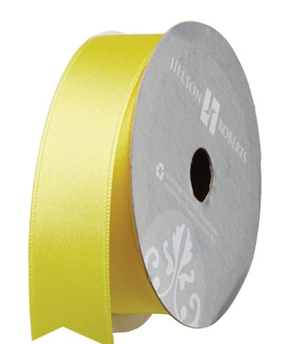 Jillson Roberts 1-Inch Double Faced Satin Ribbon Available in 21 Colors, Yellow, 6 Spool-Count (FR1012)