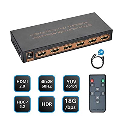 [2019 PRO] 4K 60hz HDMI Switcher, NexTrend 5 Port HDR HDMI 2.0 Switch Hub HDMI Splitter Support 4K@60Hz/2K/1080P/3D with IR Remote Control for TV, Projector Camcorders, Gaming Console