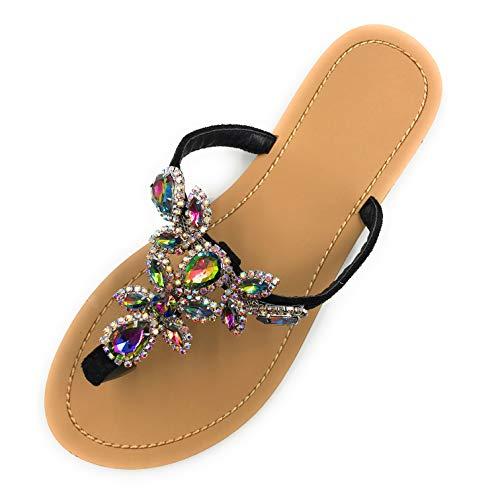azmodo Womens Black Jeweled Hand Crafted Crystal Flip Flops Rhinestones Flat Sandals Y22
