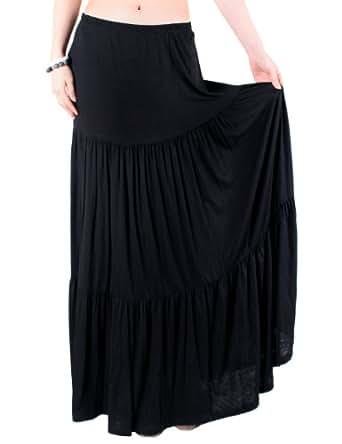 LeggingsQueen Comfy Boho Maxi Skirt - Black - Small