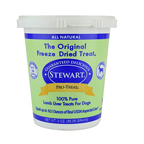 Pro-Treat Stewart Freeze Dried Lamb Liver Dog Treats, Grain Free All Natural, Made in USA using Human Grade Liver, 3 oz, Resealable Tub
