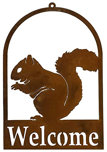 California Home and Garden CH603 Hanging Metal Squirrel Silhouette Welcome Sign, Rustic Look Artwork, 11 Inch Tall Brownish Red