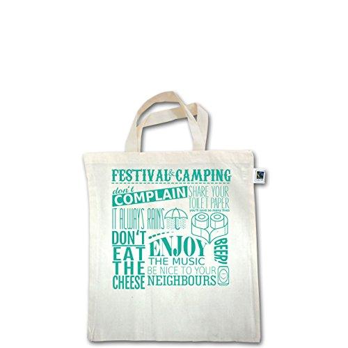 Festival - Festival camping lettering - Unisize - Natural - XT500 - Fairtrade Henkeltasche / Jutebeutel mit kurzen Henkeln aus Bio-Baumwolle