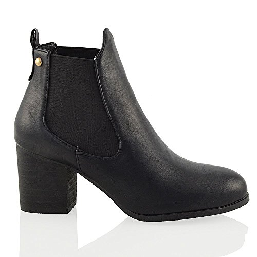 ON GLAM Pull Synthetic Elasticated Ankle ESSEX Boots Leather Womens Gusset Chelsea Black Ladies A1npxOt