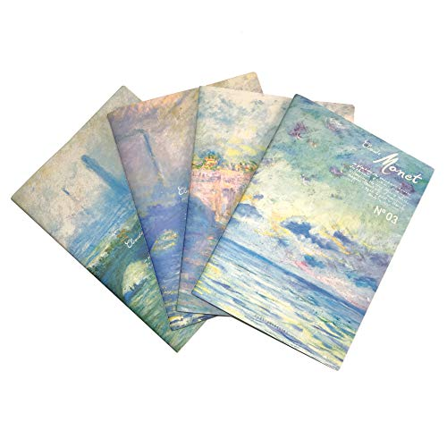 Siixu Monet Softcover Stitched Journals/Diary, B5 Quad Notebooks Set, Pack of 4, College Ruled Paper, Memo Field Note Book for Lab, Worok, Schol, Women, Men, Unique Pretty Designed, Blue, Large, Lined ()
