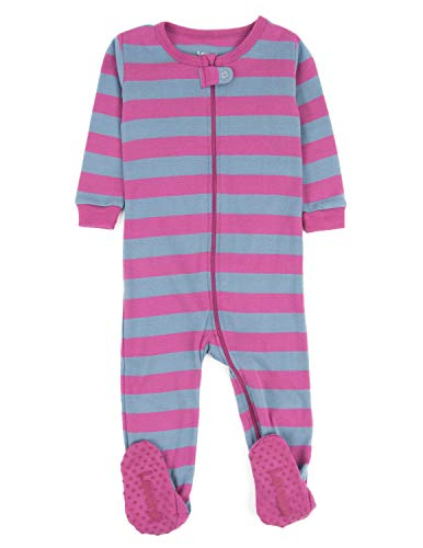 Leveret Kids Striped Baby Boys Footed Pajamas Sleeper 100% Cotton (Size 6-12 Months, Purple & Denim)