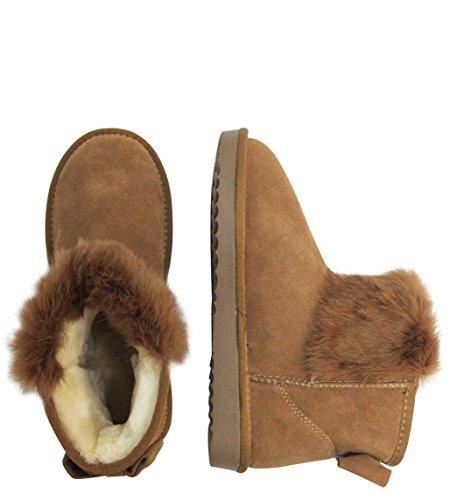 7fc398828425 LYDC London Damen Echtleder Wildleder Warme Flauschige Boots Winter  Schlupfstiefel Fransen Schleife Gefüttert Sale Leder Schuhe ...