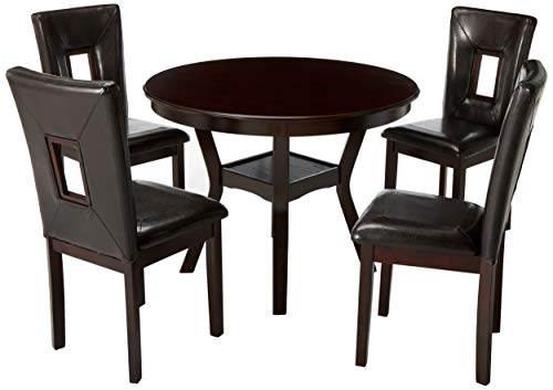 "Alpine Furniture 5213 5 Piece Segundo Dining Set, 42"" Diameter, Espresso"