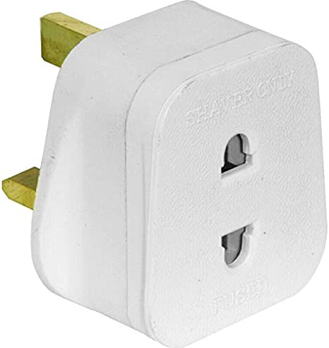 UK 2 Pin To 3 Pin 1 Amp Fuse Adaptor Plug For Shaver: Amazon