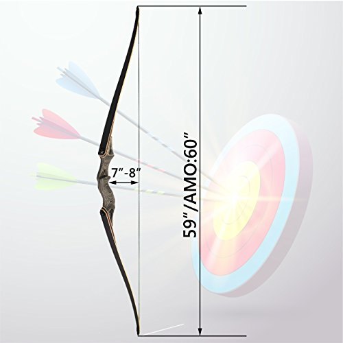 SinoArt 60 Takedown Long Bow Archery Wooden Archery Bow Included Fur Rest Pad Stringer Tool Tab String Nocks Right Hand for Hunting or Target (Right Hand 60lbs)