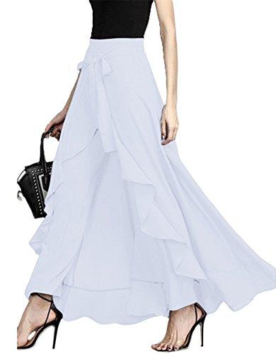 Women Split Tie-Waist Dress Maxi Long Palazzo Overlay Wide Leg Pant Skirts White by Mintsnow