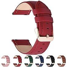 Fullmosa 6 Colores para Correa de Reloj, Cross Piel Correa Huawei Samsung Correa/Banda/Band/Pulsera/Strap de Recambio/Reemplazo 14mm 16mm 18mm 20mm 22mm 24mm,Rojo 22mm