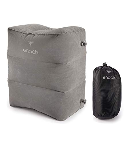 Enoch Inflatable Travel Footrest Pillow, Leg Rest Support on Airplanes, Cars, Trains, Office, Travel Bed for Kid   Adjustable Height for All Around Comfort, Travel Gadgets and Accessories.