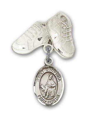 Sterling Silver Baby Badge with St. Dymphna Charm and Baby Boots Pin