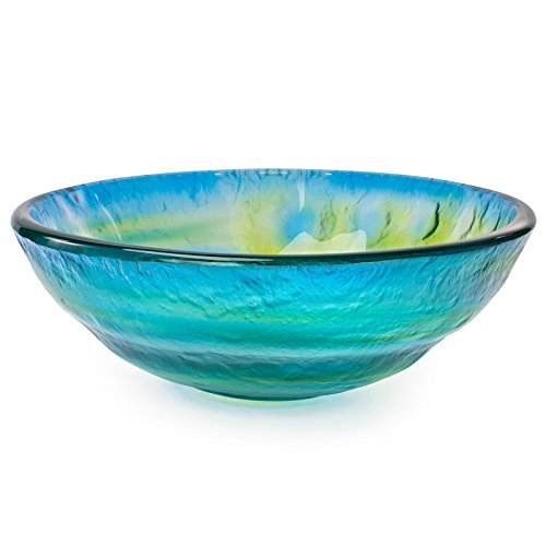 Tempered Glass Vessel Bathroom Vanity Sink Round Bowl Glazed Multi Color Yellow Blue Green