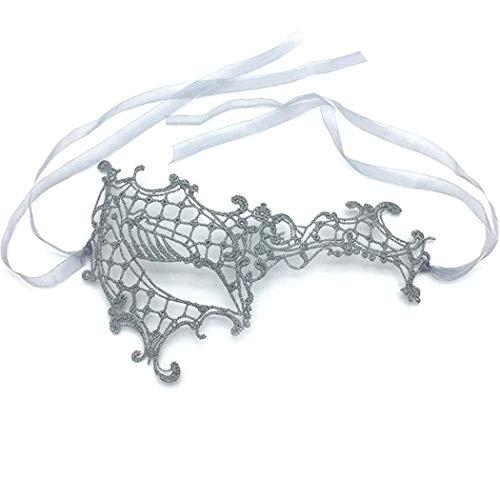 iMapo Masquerade Mask for Women, Mardi Gras Party Masks Porm Ball Venetian Christmas Cosplay Lace Mask Costume - Silver -