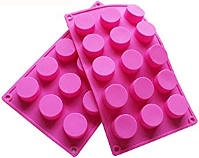 BAKER DEPOT 15 Holes Cylinder Silicone Mold For Handmade soap, jelly, Pudding, Cake